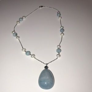 JTV Pearl and Aquamarine Necklace